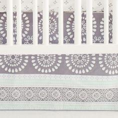 Harper in Aqua Baby Bedding | Gray and Aqua Crib Skirt - Jack and Jill Boutique