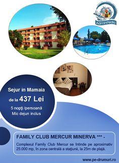 Situat în centrul staţiunii Mamaia, la doar 25 m de plajă, Complexul Mercur Minerva Family Club oferă 25.000 mp de confort şi distracţie.