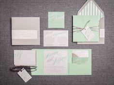 Mint Wedding Invitations Modern Invitations by JulieHananDesign