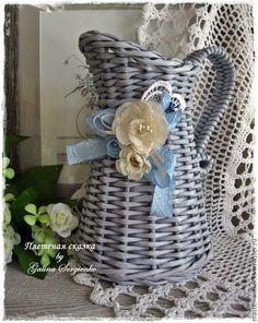 lanciatore, intrecciato brocca, blu, azzurro, per i fiori, per i fiori secchi, vaso in stile Shabby.