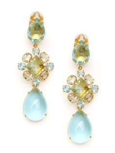 Hassan Bounkit blue quartz, green amethyst and fluorite drop earrings http://store.bounkit.com/products/earrings-with-blue-topaz-green-amethsyt-and-fluorite
