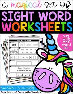 Editable Sight Word Worksheets . These worksheets are awesome! They auto-fill with any sight words you choose. Create sight word activity sheets has never been easier! | sight word printables | sight words kindergarten | sight words first grade | printable vocabulary lists