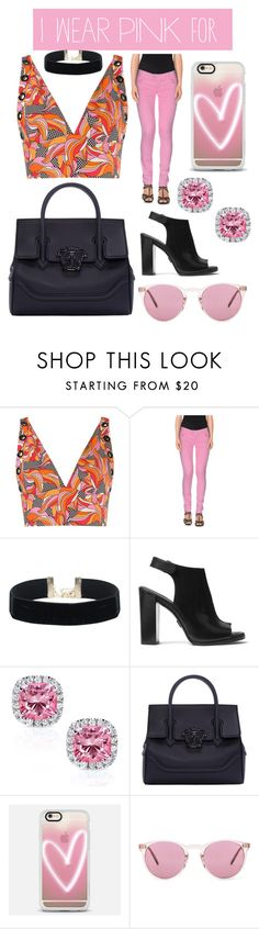 """""""We wear pink for extra spice for life"""" by maddiek00-1 ❤ liked on Polyvore featuring Reinaldo Lourenço, CYCLE, Michael Kors, Kobelli, Versace, Casetify, Oliver Peoples and IWearPinkFor"""