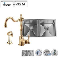 """Build Smart Kits MSS163219SR5050/DD401557 Miseno 32"""" Double-Bowl   Stainl Polished Brass Faucet Fixture Kitchen Sink Combination"""