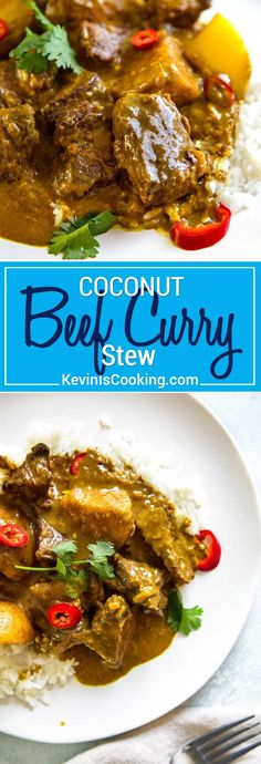 This Coconut Beef Curry Stew is a delicious, creamy sauced beef curry without all the waiting and ingredients typically in a curry. Perfect mid-week dinner. via @keviniscooking #stew #curry