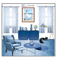 Blue room by amisha73 on Polyvore featuring interior, interiors, interior design, dom, home decor, interior decorating, Sure Fit, Sigma L2, Wedgwood and JCPenney Home