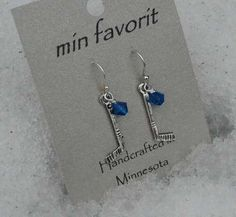 MIN Favorit Hockey Girls Hockey Mom Bling Blue Swarovski Crystal Silver Earrings | eBay ONLY $8 You can request your team colors!