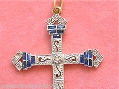 Antique Art Deco 10ctw Diamond 50ctw Sapphire Cross Pendant 1920 www.MelsAntiqueJewelry.com