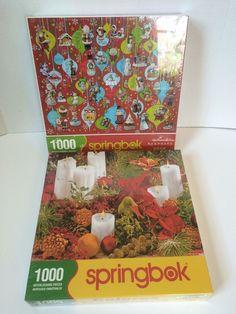 Christmas Colors 1000 piece Springbok jigsaw puzzle keepsake Ornamants Lot new #SPRINGBOK