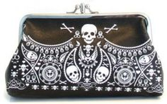 Loungefly Embossed Double Kisslock Skull Bandana Vegan Clutch Purse