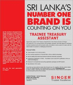 Contact Centre Officer at Singer (Sri Lanka) PLC Career First Jobs For School Leavers, Accounting Jobs, Count On You, Country Strong, First Contact, Number One, Mathematics, Sri Lanka, Advertising