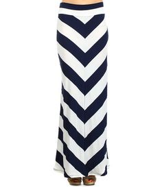 Look what I found on #zulily! Navy & White Chevron Maxi Skirt by J-Mode USA Los Angeles #zulilyfinds