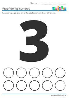 Ficha del número 1 para pegatinas.   Descarga las fichas del 1 al 10 aquí…