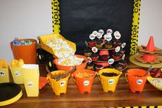 Construction Birthday Party Ideas | Photo 5 of 18 | Catch My Party - pails to hold food