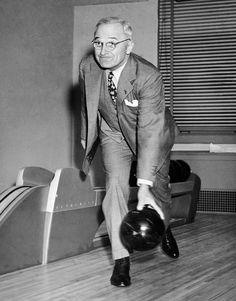 President Truman bowling in the white house. The two-lane alley was built as a birthday present. April 25th 1947.