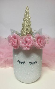 Pink and Gold Baby Shower Pink and Gold Birthday Decorations Birthday Party Centerpieces, Birthday Decorations, Unicorn Themed Birthday, Gold Birthday, Baby Birthday, Unicorn Centerpiece, Mason Jar Crafts, Mason Jars, Rosalie