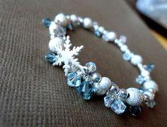 Snowflake Bracelet in blues and silver Bracelet by amandamackay
