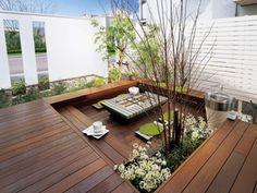 Planting Ideas For Rooftop Gardens Roof Design, Patio Design, Garden Design, Small Backyard Gardens, Backyard Landscaping, Outside Living, Outdoor Living, Rooftop Patio, Patio Wall