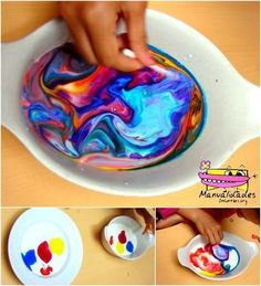 pintura con leche experimento para niños