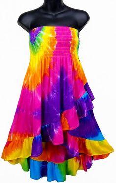 Tie-Dye Convertible Ruffle Top/Skirt