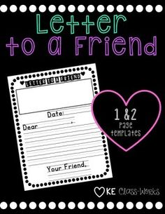 Letter Writing Template for beginning writers! Letter Writing Template, Friendly Letter, Writing Practice, Teacher Newsletter, Lesson Plans, Homeschool, Letters, Templates, How To Plan