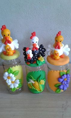 Pin by Suryani Yusoff on Polymer clay flowers Polymer Clay Flowers, Polymer Clay Crafts, Diy Clay, Mason Jar Crafts, Bottle Crafts, Mason Jars, Fondant Animals, Clay Animals, Clay Jar