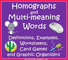 Students often confuse homographs with multiple meaning words. In this booklet, students will engage in games and activities that will allow them . 2nd Grade Ela, Teaching 5th Grade, 2nd Grade Classroom, Teaching Reading, Teaching Ideas, Third Grade, Classroom Ideas, Teaching Grammar, Kindergarten Class