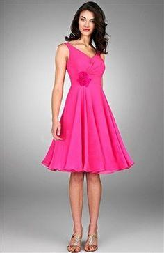 Elegant Short Ruched and Layered Hot Pink Bridesmaid Dress ...