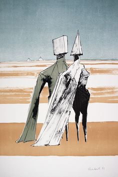 Two Figures With Pyramids by Modern British Artist Lynn Chadwick