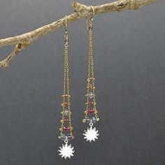 sun charm, ladder earrings, ladder jewelry, silver charms, earring design, finished jewelry