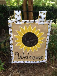 A personal favorite from my Etsy shop https://www.etsy.com/listing/385226108/sunflower-burlap-garden-flag