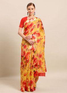 Cotton Red and Yellow Casual Saree Salwar Kameez, Kurti, Celebrity Gowns, Saree Shopping, Casual Saree, Latest Sarees, Fabric Shop, Exclusive Collection, Kimono Top