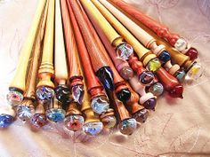 glindles - Russian support spindles with glass spinning tips. Gorgeous!