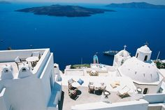 Stunning views of the Mediterranean Sea from the Aigialos Hotel in Santorini, Greece