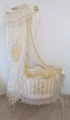 Victorian Style Baby Bed by Angela Lace. To see more pics of this bed and much more, visit http://angela-lace.blogspot.com/2012/03/victorian-style-baby-bed.html