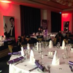 All set for the Bond theme Christmas party tonight at the @brooklands_hotel 007 chair covers, tall Martini glass table centres, Bond gallery and more! #spiritshighuk #brooklandshotel #bondparty #jamesbondtheme #007party