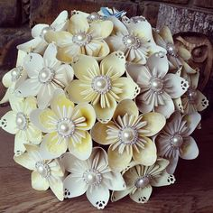 Beautiful alternative Paper Flower Bouquets Bespoke custom inspirational design bridal lemon yellow silver grey vintage romantic tea party wedding theme Origami florist Huge Collection Alternative hot new popular best this year season 2016 2017 2018 DIY inspiration idea design. Buttonholes, flower girl wand pretty kusudama best alternative to brooch button silk fabric foam unique romantic rustic most beautiful alternative