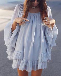 Stylish Long Sleeve Scoop Neck Solid Color Flounced Women's DressChiffon Dresses | RoseGal.com