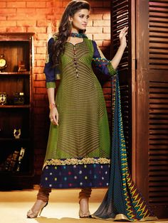 Ethnic Beige And Mehendi Green Coloured Jacquard Casual Salwar Suit