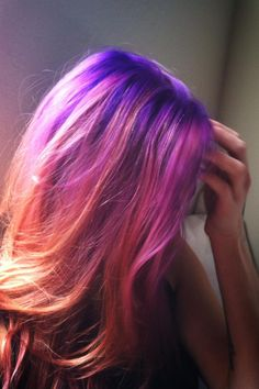 Pastel purple rainbow hair