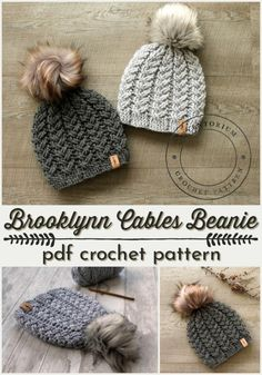 Chunky Crocheted Hats Last week I shared a bunch of chunky knit hat patterns, but just so I don't leave my hookers out of the loop, here's a great group of winter beanies (toques for us Canadians) for you to… Crochet Hats Chunky Crochet Hat, Crochet Cable, Crochet Beanie Pattern, Crocheted Hats, Crochet Patterns, Crochet Hooks, Diy Crochet Hat, Crochet Crafts, Crochet Projects