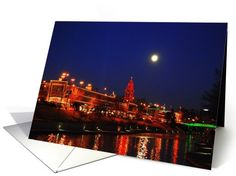 Full moon over Country Club Plaza Holiday Lights, Kansas City - Blank card  #Missouri  #FullMoon #Christmas http://www.greetingcarduniverse.com/collections/art-and-architecture/country-club-plaza-holiday-lights-455315?gcu=42967840600