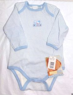 Vitamins Baby One Piece Bodysuit Size 6M Long Sleeve Light Blue White #VitaminsBaby #Everyday