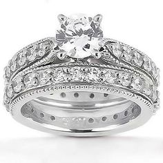 1.55CT Round Diamond Bridal Set Solitaire with Accents Engagement Ring Eternity Wedding Band 14K White Gold by GetDiamondsDirect on Etsy https://www.etsy.com/listing/157756298/155ct-round-diamond-bridal-set-solitaire