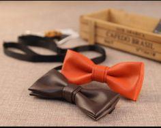 Jednofarebný ručne vyrábaný kožený spoločenský motýlik6