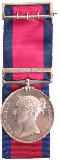 Military General Service Medal 1793-1814 Captain George Mackay 78th Highlanders, the medal has single clasp Maida. Medal is fitted with a brooch bar to the ribbon. Medal has some minor contact marks. Appointed as a Lieutenant in the 78th Highlanders on 4th July 1797. In 1804 he was promoted to Captain. He became Brevet Major 4th June 1815.