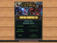 Birthday Party Invitation League of Legends by SimpleSaturday, $6.50
