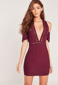 Cold Shoulder Plunge Bodycon Dress Burgundy