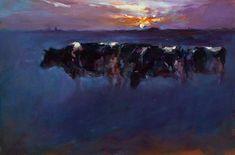 Landschappen Old Paintings, Animal Paintings, Cattle, Digital Art, Art Gallery, Inspiring Art, Cows, Illustration, Bb