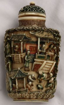 Carved Ivory Snuff Bottle